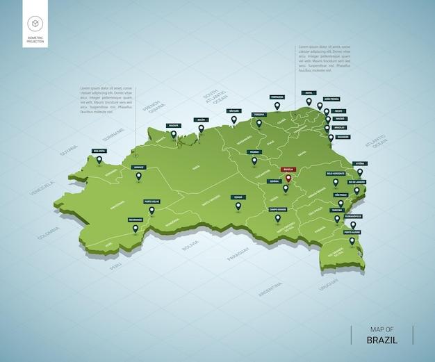 Stylizowana Mapa Brazylii. Izometryczna Zielona Mapa 3d Z Miastami, Granicami, Stolicami I Regionami. Premium Wektorów