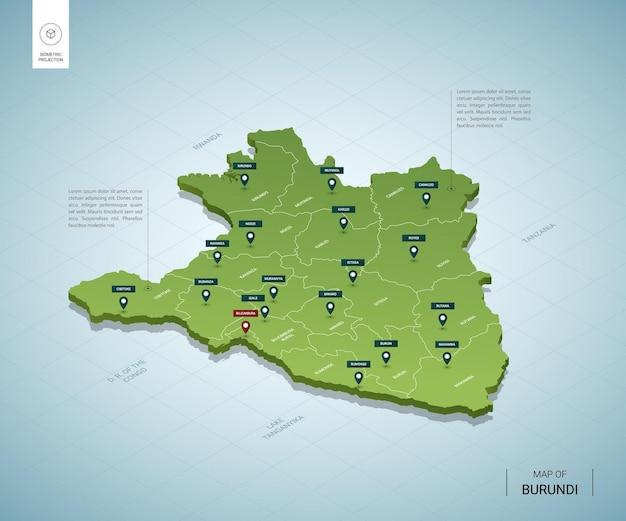 Stylizowana Mapa Burundi. Izometryczna Zielona Mapa 3d Z Miastami, Granicami, Stolicą Bużumbura I Regionami. Premium Wektorów