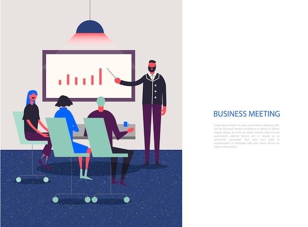 Stylizowane Postacie. Biznesowa Ilustracja. Spotkanie, Konferencja, Analiza, Grupa Robocza. Ludzie Siedzący W Biurze Premium Wektorów
