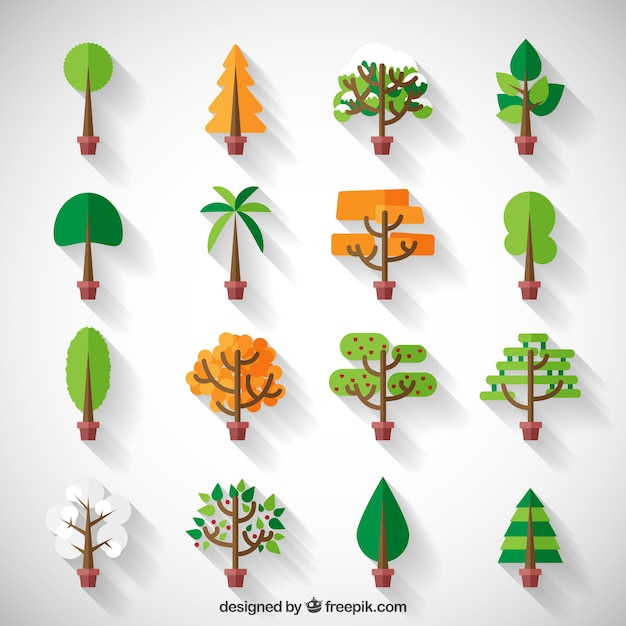Stylizowane słodkie drzewo kolekcji Darmowych Wektorów