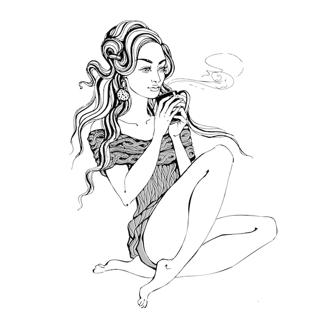 Stylowa dziewczyna z filiżanką kawy Premium Wektorów