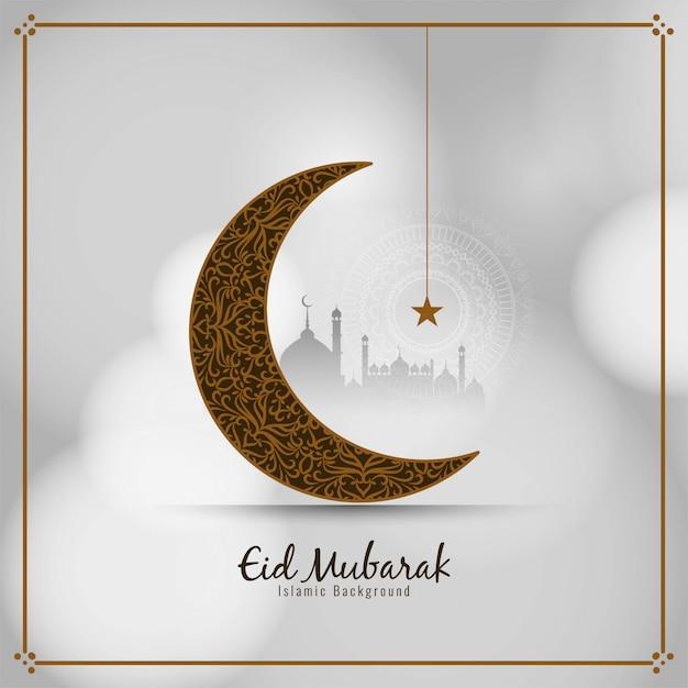Stylowa Islamska Karta Eid Mubarak Z Półksiężycem Darmowych Wektorów