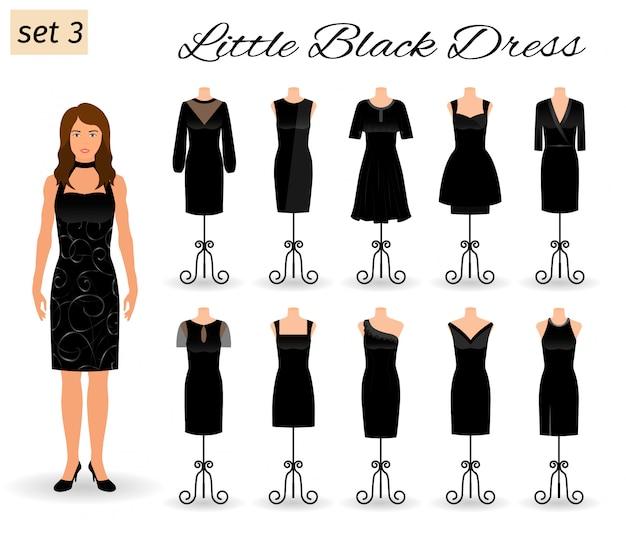 Stylowa Kobieta Postać W Małej Czarnej Sukience. Zestaw Sukienek Koktajlowych Na Manekinach. Premium Wektorów