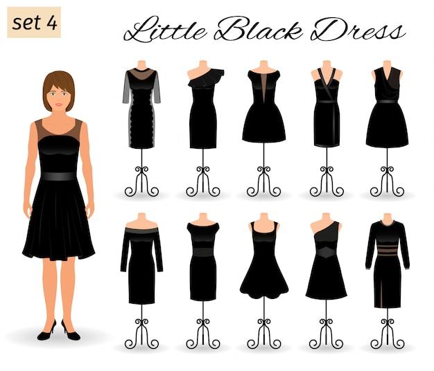 Stylowa Postać Kobiety W Małej Czarnej Sukience. Zestaw Sukienek Wieczorowych Na Koktajl Na Manekinach. Premium Wektorów