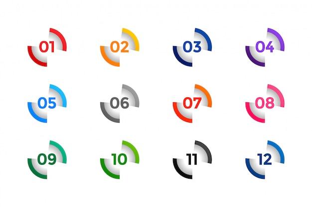 Stylowe punkty buller od jednego do dwunastu Darmowych Wektorów