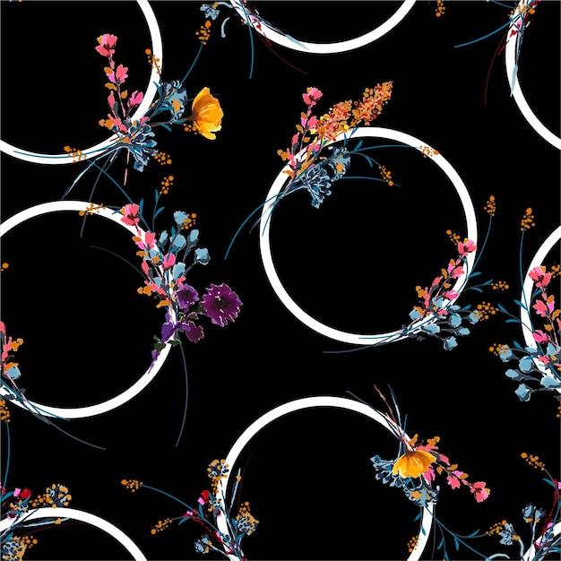 Stylowe Ręcznie Rysowane I Malowane łąki Kwiatowy Wzór Geometryczny Koło Premium Wektorów