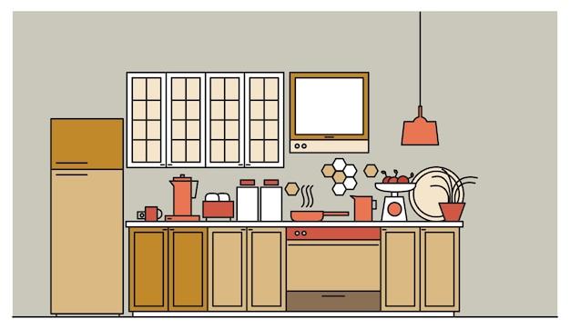 Stylowe Wnętrze Nowocześnie Urządzonej Kuchni Z Szafkami, Sprzętem Elektronicznym, Naczyniami, Naczyniami I Sprzętem Kuchennym Premium Wektorów