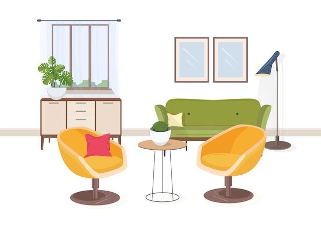 Stylowe Wnętrze Salonu Lub Salonu Pełne Wygodnych Mebli I Dekoracji Domowych Premium Wektorów