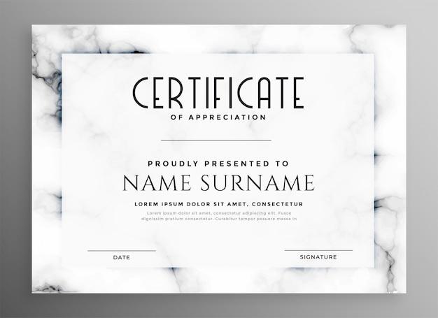 Stylowy biały certyfikat z marmurową fakturą Darmowych Wektorów