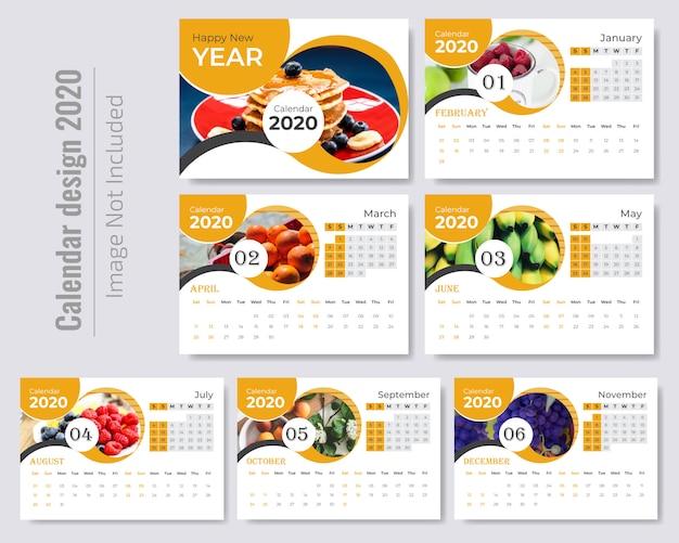 Stylowy falisty szablon kalendarza Premium Wektorów