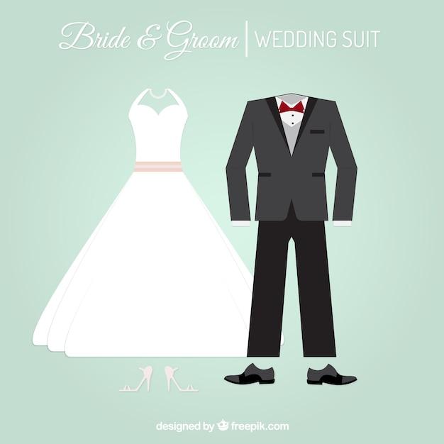 Stylowy garnitur i suknia ślubna Darmowych Wektorów