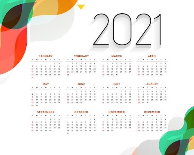 Stylowy Kolorowy Kalendarz Na Nowy Rok Darmowych Wektorów