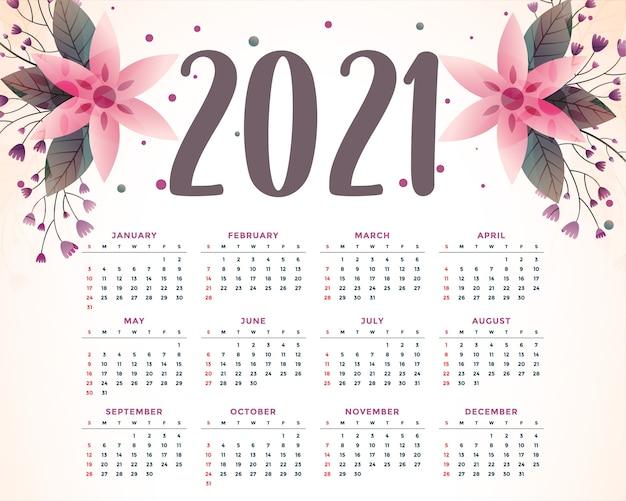Stylowy Kwiat Ozdobny Szablon Kalendarza 2021 Darmowych Wektorów