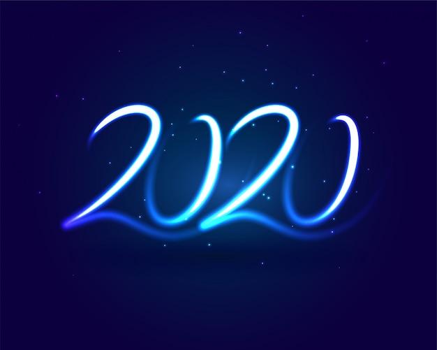 Stylowy neon niebieski 2020 napis karty światła Darmowych Wektorów
