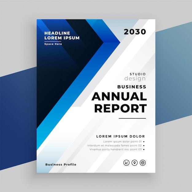 Stylowy Niebieski Roczny Raport Biznesowy Projekt Szablonu Ulotki Darmowych Wektorów