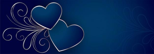 Stylowy Niebieski Transparent Serca Walentynki Darmowych Wektorów