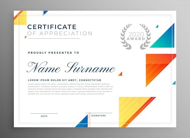 Stylowy nowoczesny certyfikat szablonu uznania Darmowych Wektorów