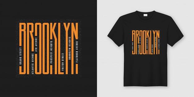 Stylowy Projekt Koszulki I Odzieży Na Brooklynie, Typografia, Premium Wektorów