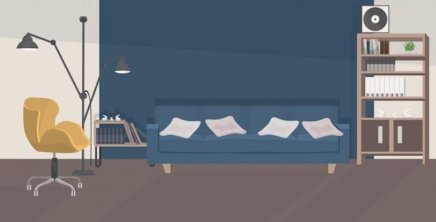 Stylowy Salon Pusty Bez Ludzi Nowoczesne Wnętrze Mieszkania Z Meblami Płaskie Poziome Premium Wektorów