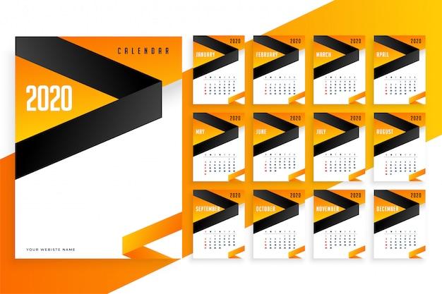 Stylowy szablon kalendarza biznesowego 2020 roku Darmowych Wektorów