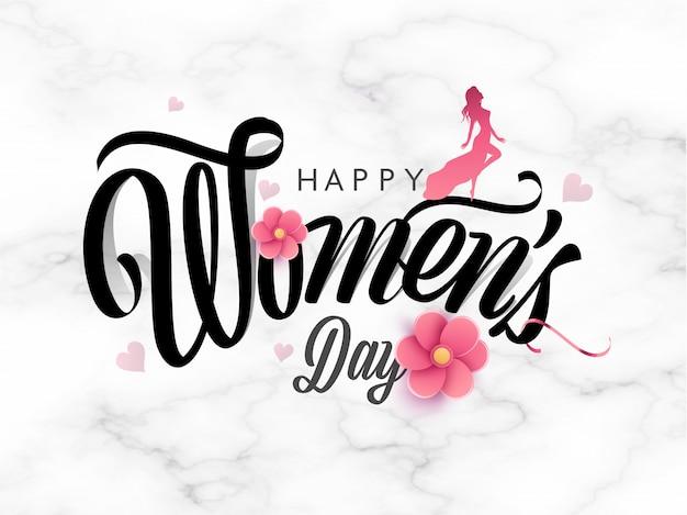 Stylowy Szczęśliwy Dzień Kobiet Tekst Ozdobiony Kwiatami Ciętych Papieru I Sylwetka Nowoczesnej Damy Stojący Na Tle Marmur Tekstura Biały. Premium Wektorów