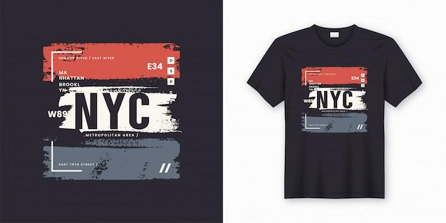 Stylowy t-shirt i odzież streszczenie plakatu w nowym jorku. Premium Wektorów
