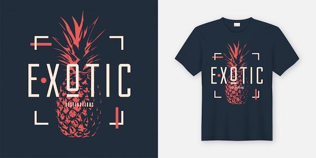 Stylowy T-shirt I Odzież W Nowoczesnym Stylu Z Ananasem Premium Wektorów