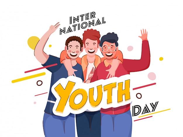 Stylowy Tekst Międzynarodowy Dzień Młodzieży Z Wesołymi Młodymi Chłopcami W Akcji Robienia Zdjęć Na Białym Tle. Premium Wektorów
