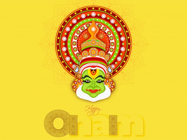 Stylowy tekst szczęśliwy onam i ilustracja twarzy tancerza kathakali na żółtym tle Premium Wektorów