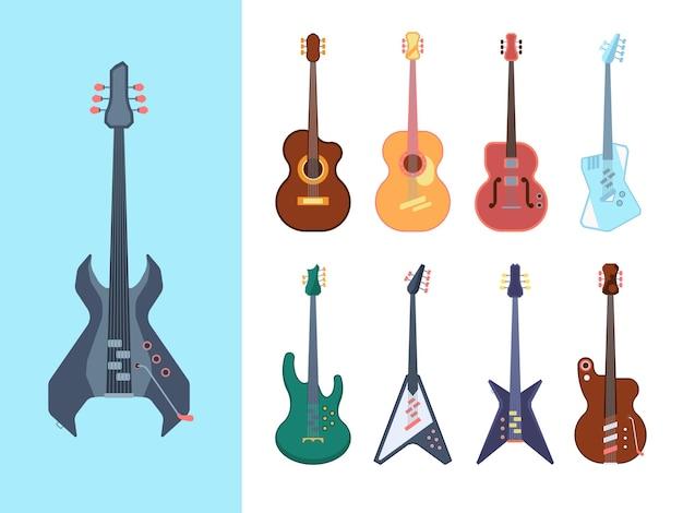 Stylowy Zestaw Gitar. Instrumenty Akustyczne Dla Jazz Country I Heavy Metal Jumbo String Deck Tworzą Nowoczesne Wyposażenie Zespołów Bluesowych W Formie Klasycznego Musicalu Elektrycznego. Premium Wektorów