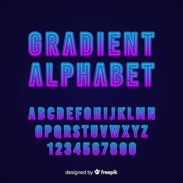 Stytle Gradientu Szablon Dekoracyjny Alfabet Wektor