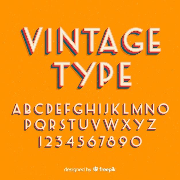 Stytle Retro Szablon Dekoracyjny Alfabet Wektor Darmowe
