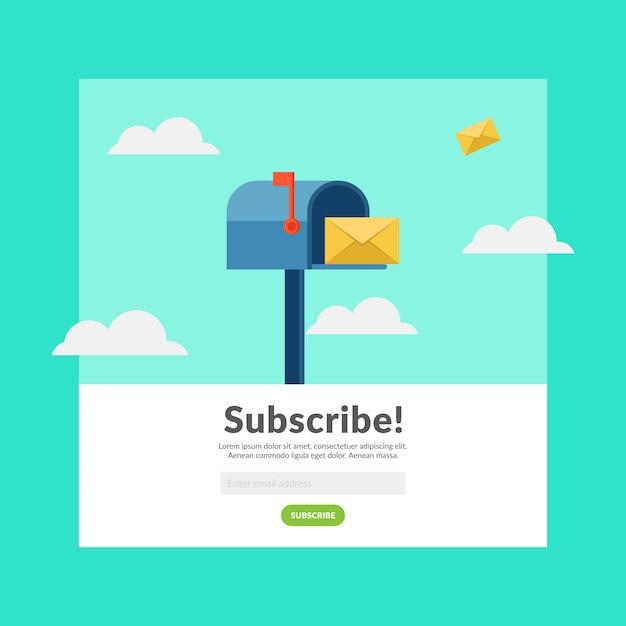 Subskrybuj e-mail płaski kształt ilustracji wektorowych Premium Wektorów