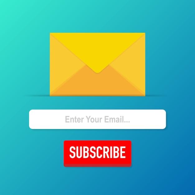 Subskrybuj e-mail szablon wektor. prześlij formularz e-mailowy banner listowy. ilustracji wektorowych. Premium Wektorów