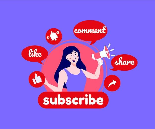 Subskrybuj Komentarze I Polub Media Społecznościowe Youtube Premium Wektorów