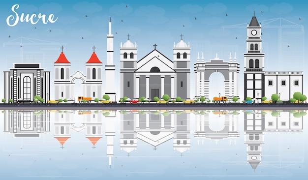 Sucre Skyline Z Szarymi Budynkami, Błękitnym Niebem I Odbiciami. Podróże Służbowe I Koncepcja Turystyki Z Historyczną Architekturą. Premium Wektorów