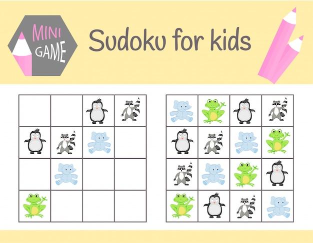 Sudoku dla dzieci ze zdjęciami i zwierzętami Premium Wektorów
