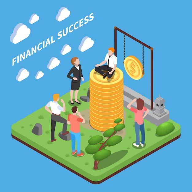 Sukces Finansowy Izometryczny Skład Ludzkie Postacie Patrząc Na Człowieka Na Stercie Pieniędzy Darmowych Wektorów