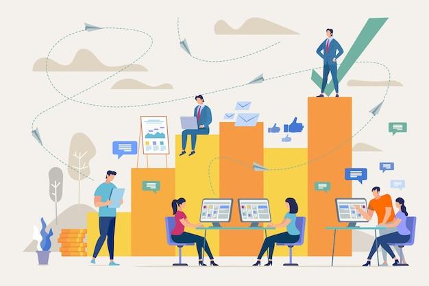 Sukces firmy z dobrą koncepcją pracy zespołowej Premium Wektorów