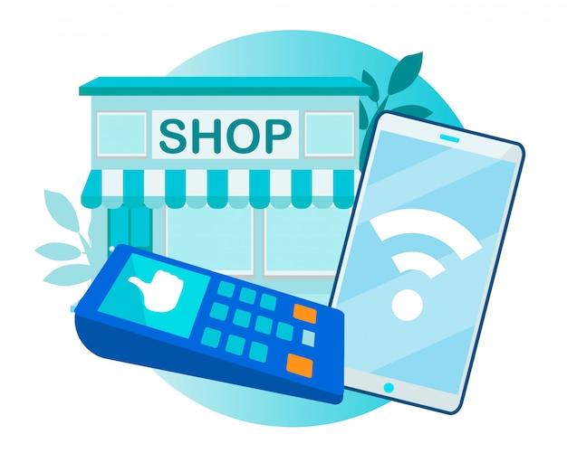Sukces płatność zbliżeniowa przez telefon i terminal Premium Wektorów