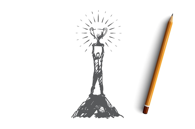 Sukces, Przywództwo, Cel, Zwycięstwo, Koncepcja Zwycięzcy. Ręcznie Rysowane Człowiek Ze Szkicu Koncepcji Puchar Zwycięzcy. Premium Wektorów