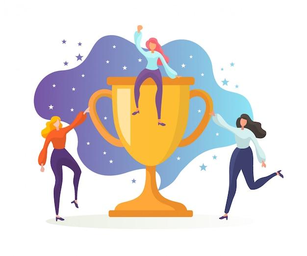 Sukces zespołu biznesowego, zdobądź nagrodę, złoty puchar. pracownicy biurowi świętują zwycięstwo trofeum. Premium Wektorów