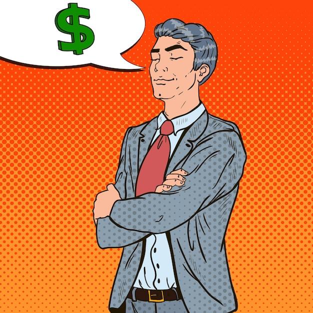 Sukcesy Biznesmen Pop-artu Marzy O Pieniądzach. Premium Wektorów