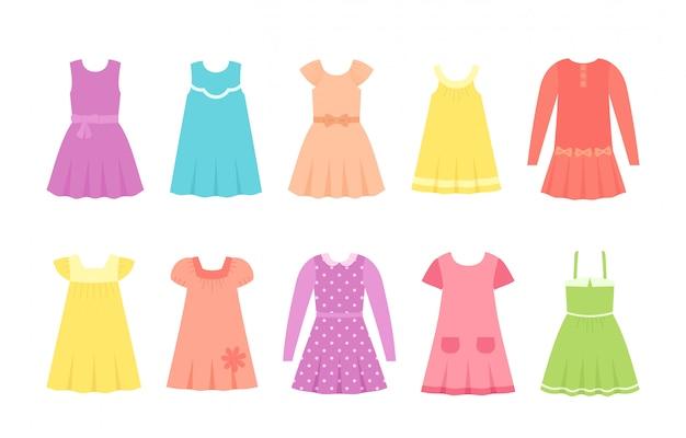 Sukienki Dla Dzieci, Ubrania Dla Dzieci, Zestaw Odzieży Dziecięcej, Modele Dla Dzieci, Premium Wektorów