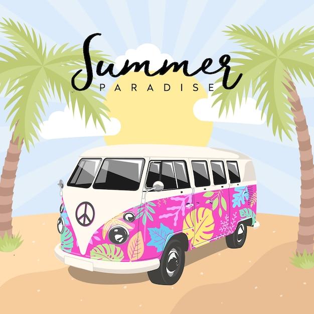 Summer Paradise Kombi Van Premium Wektorów