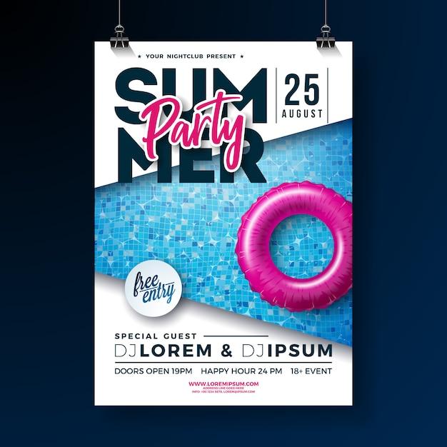 Summer party plakat szablon z literą typografii i pływaka Premium Wektorów