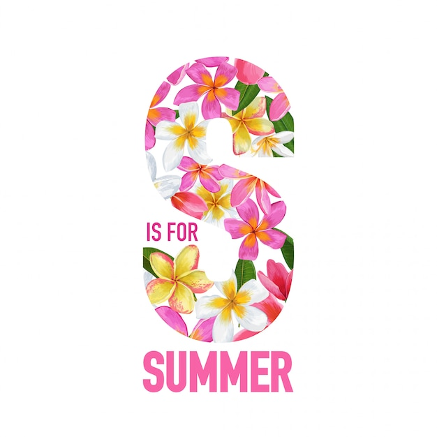 Summertime Floral Background Tropical Flowers Design Premium Wektorów