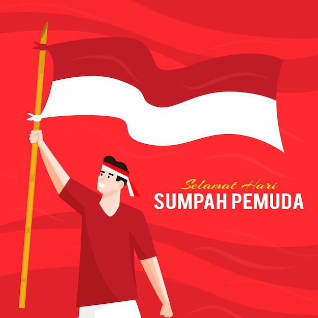 Sumpah Pemuda Z Mężczyzną Trzymającym Flagę Premium Wektorów