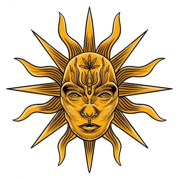 Sun tarot card vector Premium Wektorów