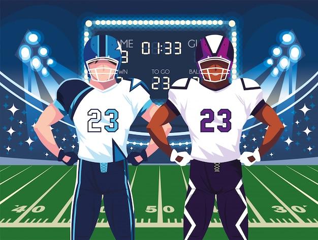 Super Bowl Graczy Z Kaskiem Przed Polem Ilustracji Premium Wektorów